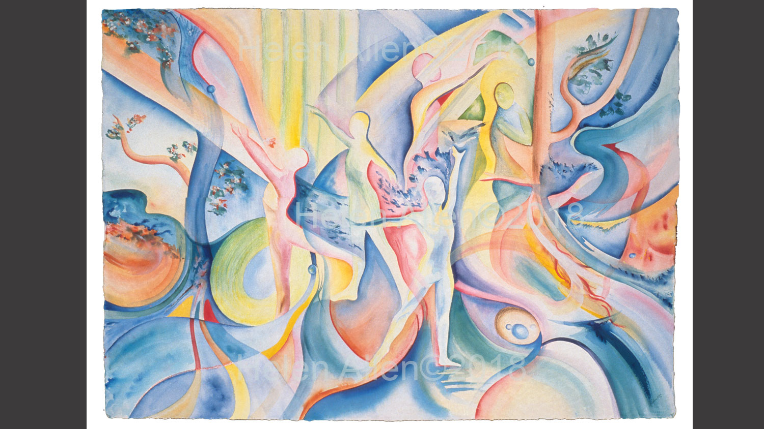 Semi-abstract painting with contemporary dance figures and tree like shapes